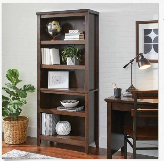 5 Shelf Bookcase Brown Wooden Tall Display