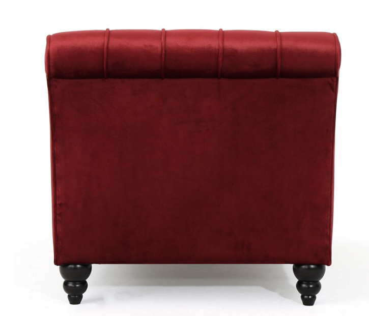 Red Velvet Chaise Lounge Chair Modern Wide Sofa Bedroom Living Bedroom Tufted