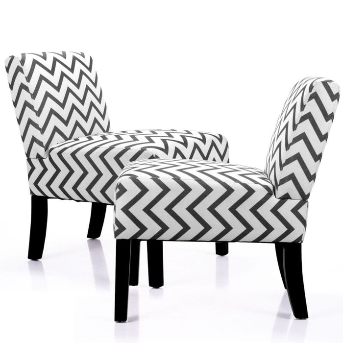 Set of 2 Armless Sofa Accent Chair with Solid Wood Legs