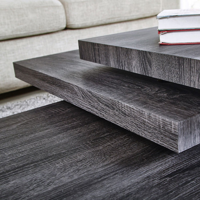 Contemporary Rotating Coffee Table - Black Oak - Toyzor.com