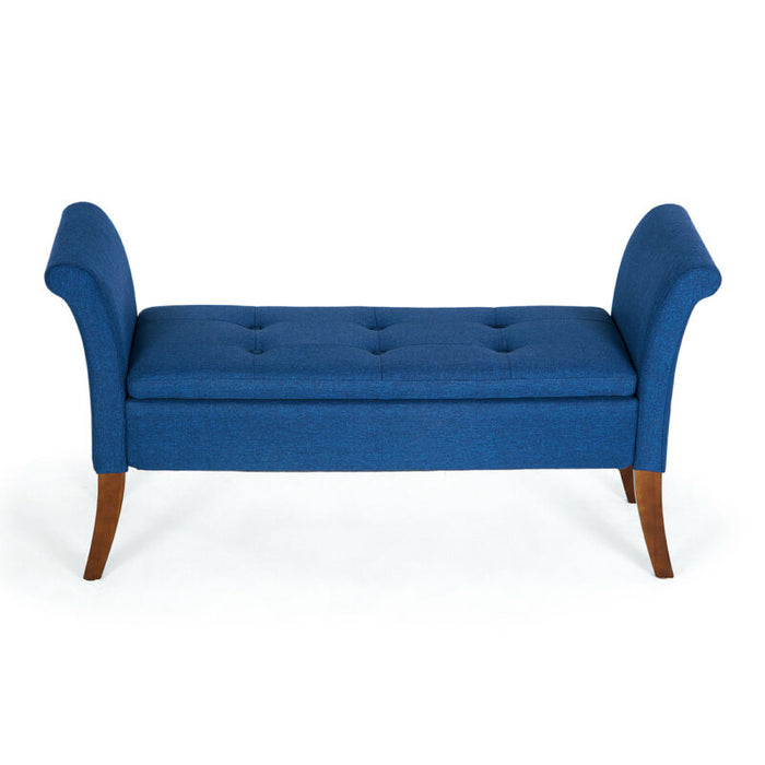 Storage Couch Bench Ottoman Accent Arm Bedroom Armed Footrest Settee (Blue)