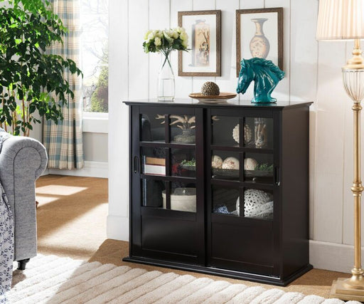 Espresso Wood Curio Cabinet with Glass Sliding Doors