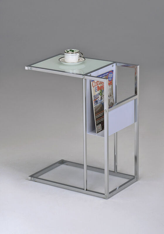 White Printed Glass & Chrome Accent Snack Table with Magazine Rack