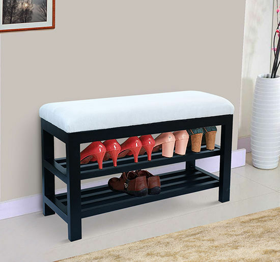 2 Tier Shoe Storage Rack Bench Shelf Soft Seat Stool Entryway Organizer