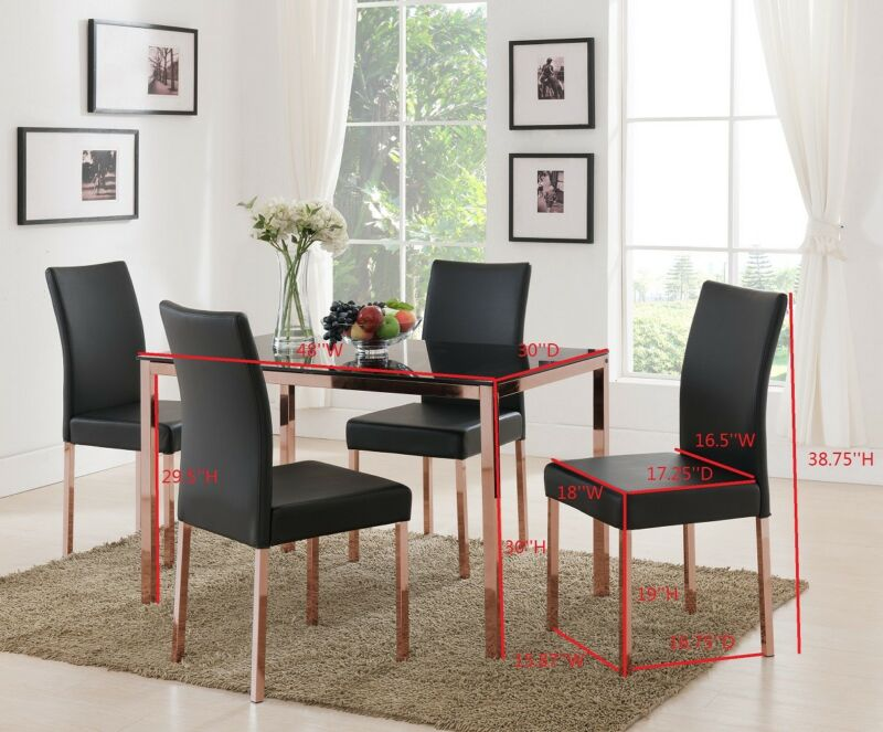 Rose Copper / Black Tempered Glass Kitchen Dinette Table & 4 Chairs
