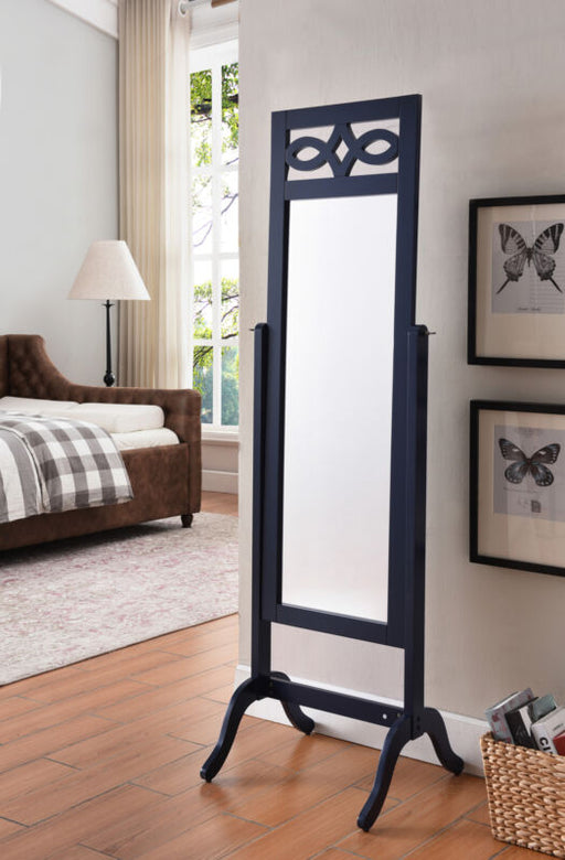 Navy Blue Finish Wood Free Standing Floor Mirror