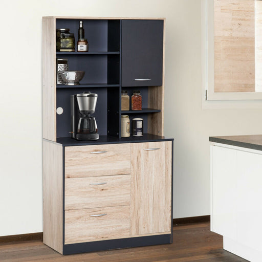 Kitchen Storage Pantry Cabinet Hutch Buffet Server Microwave with 2 Doors