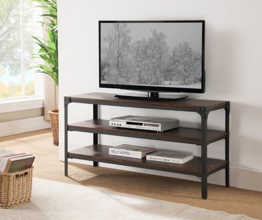 Black/Walnut Antique Finish TV Stand With Shelves