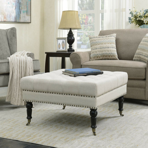 Beige Tufted Foot Modern Button Square Ottoman Coffee Table Bench