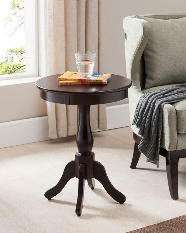 Cherry Finish Wood Round Pedestal Side Accent Table