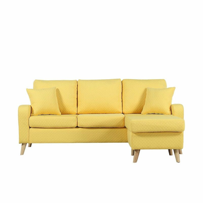 Yellow Modern Couch Small Space Reversible Fabric Sectional Sofa