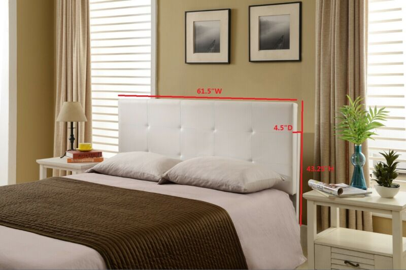 Full/Queen Faux Leather White Upholstered Headboard