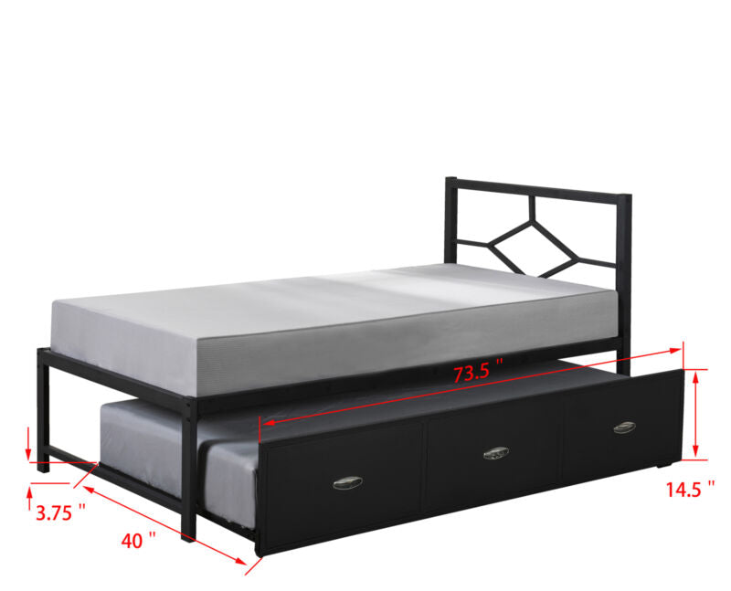 Black Metal Twin Size Daybed Frame With Trundle