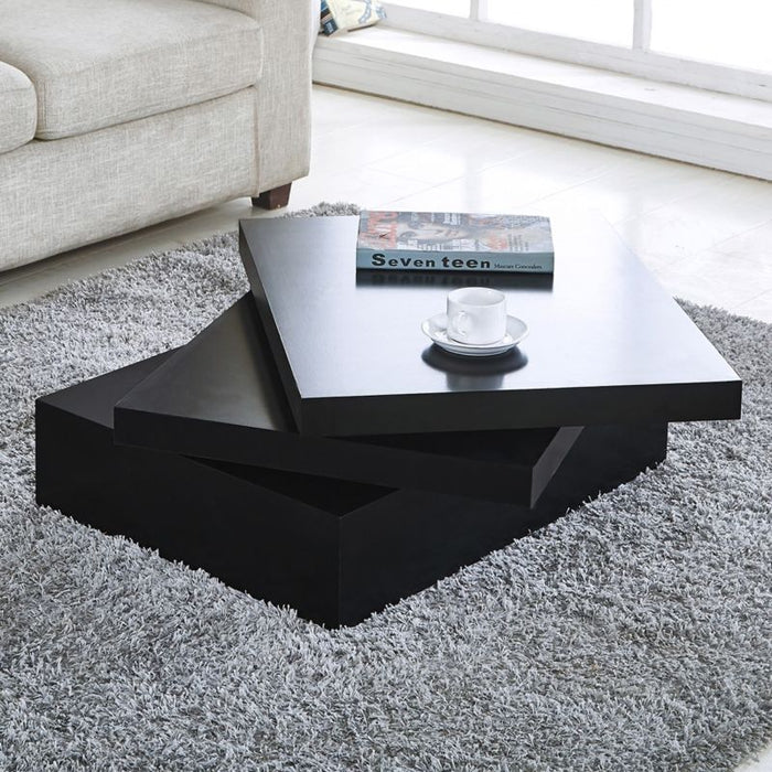 Contemporary Rotating Coffee Table - Black - Toyzor.com