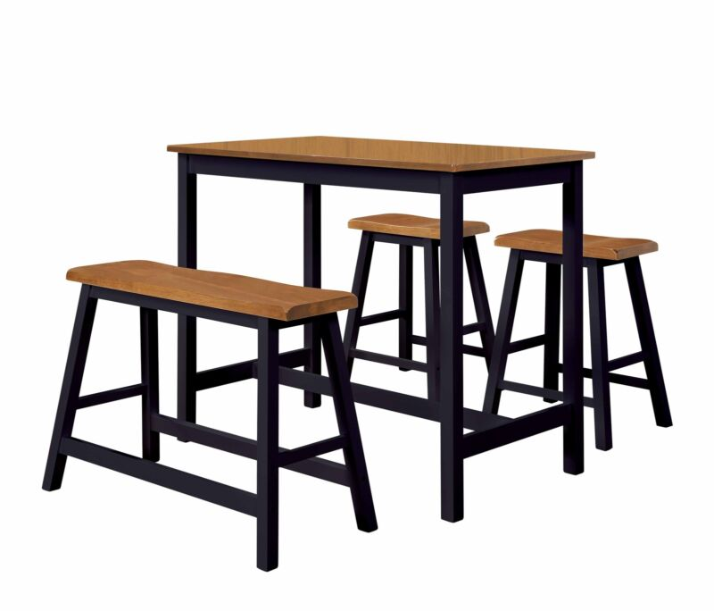 4 Piece Counter Height Pub Dining Set. Table, Bench & 2 Stools