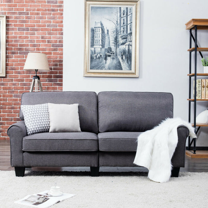 Modern Upholstered Loveseat Sofa Linen Fabric 3 Seater Couch Futon