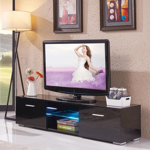 Black LED TV Stand Cabinet Console with Shelves 2 Drawers - Toyzor.com
