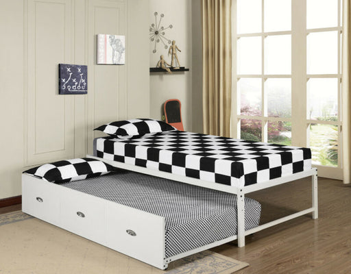 Twin Size White Day Bed  Frame With Roll Out Trundle With Mattresses