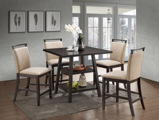 Cappuccino Counter-Height Table With 4 Clay Upholstered Chairs