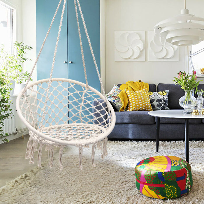 Hanging Knitted Cotton Rope Swing Chair Hammock Toyzor