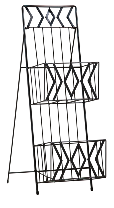Black Finish Metal 2 Tier Magazine Rack Stand