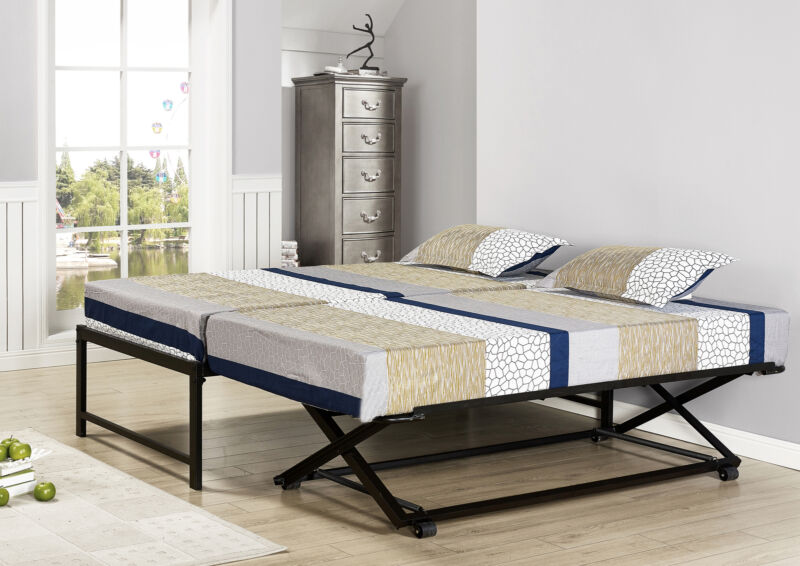 Twin Size Black Metal Platform Bed With Pop Up Trundle