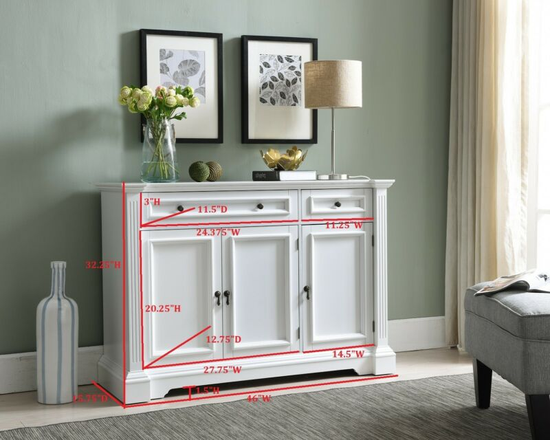 White Buffet Cabinet Console Table With Storage, Drawers, Shelves