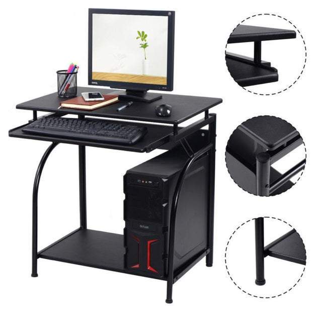 Black Computer Desk Home Office Laptop Table