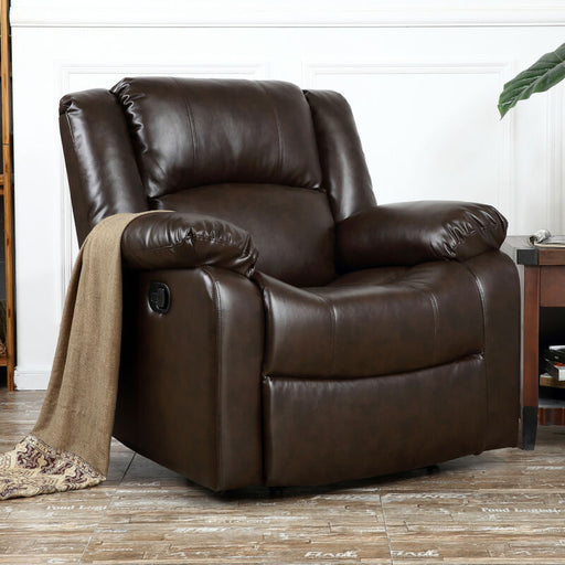 Large Overstuffed Cushion Faux Leather Padded Recliner (Brown)