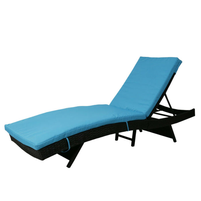 Adjustable Beach Sunbed Wicker Chaise Lounge w/ Cushion