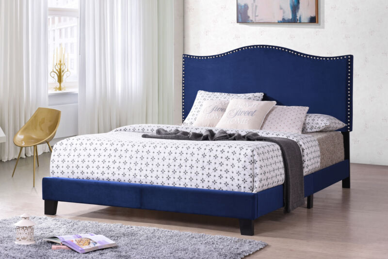Blue Velvet Nailhead Trim King Size Upholstered Bed