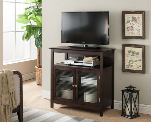 Walnut Finish Wood TV Stand Storage Console