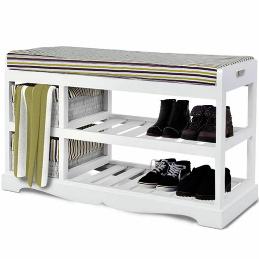 2 Basket Padded Shoe Storage Bench (White)