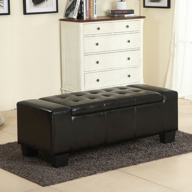 Elegant Black Faux Leather Solid Rectangular Large Storage Ottoman Bench