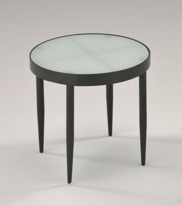 Black Metal & Frosted Tempered Glass Round Modern Side End Table
