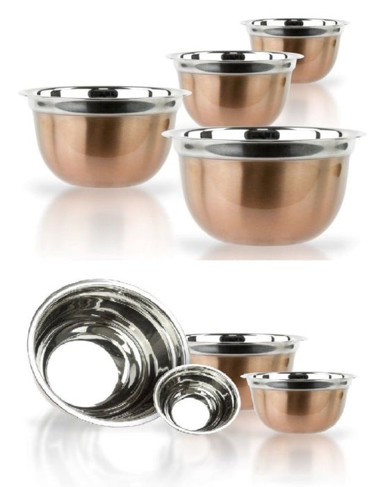 Copper Stainless Steel German Mixing Bowl Set - 4 Pieces - Toyzor.com