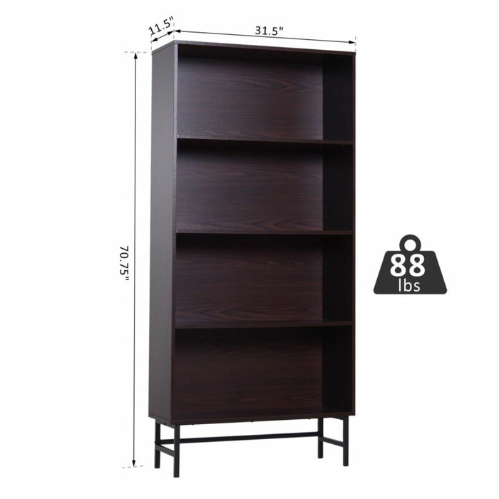 4 Tier Contemporary Open Wood Grain Bookcase with Steel Feet