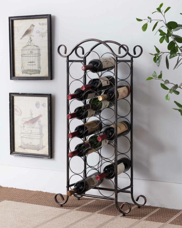 Brushed Copper Free Standing Storage Organizer Display Wine Rack