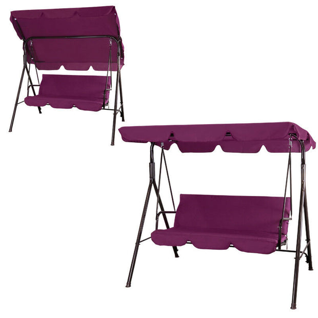 Burgundy Outdoor Canopy Swing Patio Chair Lounge 3-Person Seats Hammock Porch