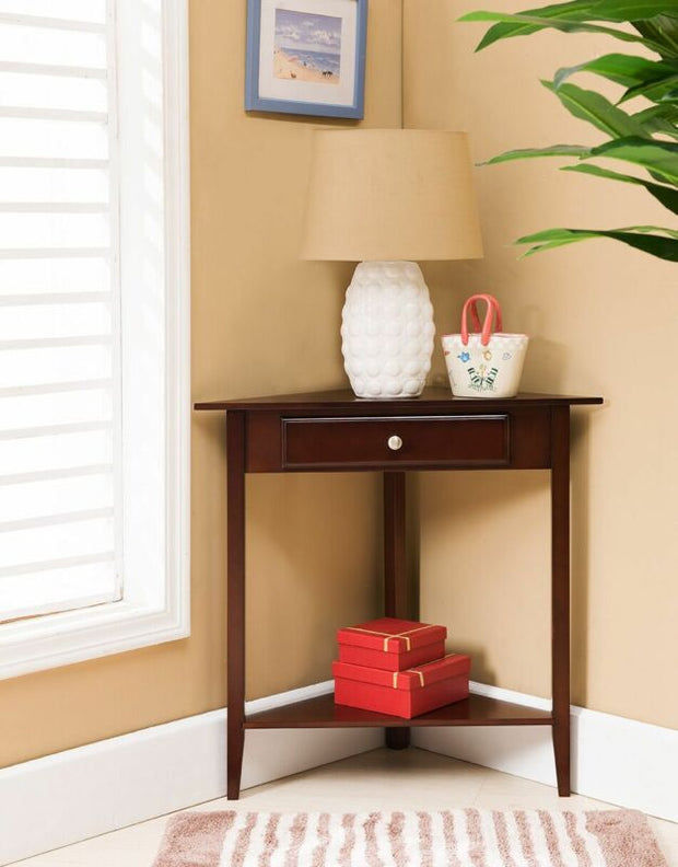 Walnut Finish Wood Corner Sofa Accent Table with Drawer