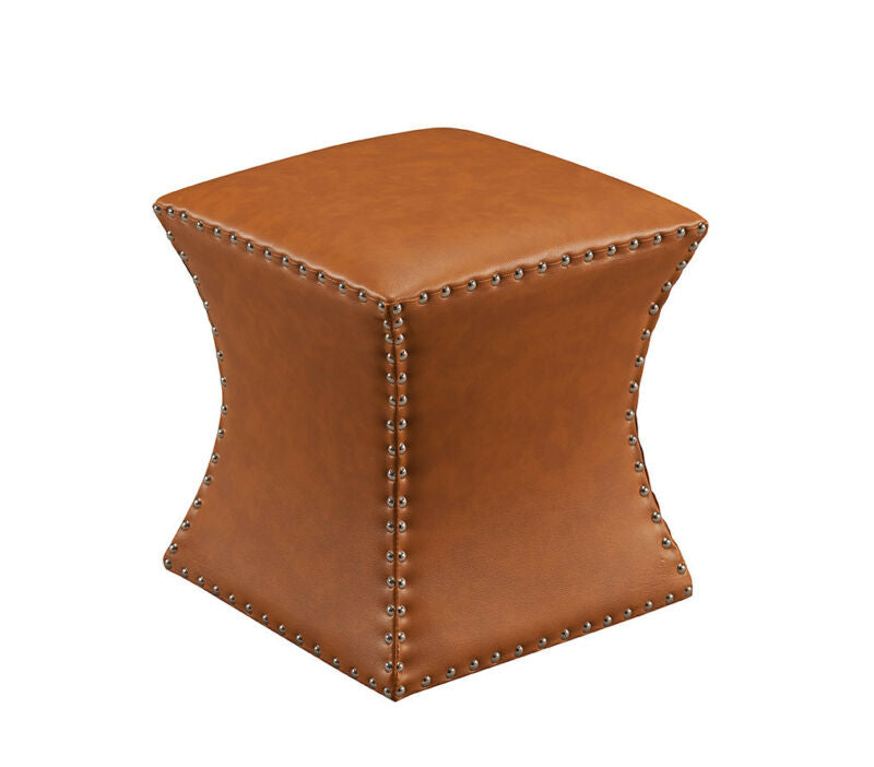 Brown Nailhead Trim Upholstered Stool Ottoman