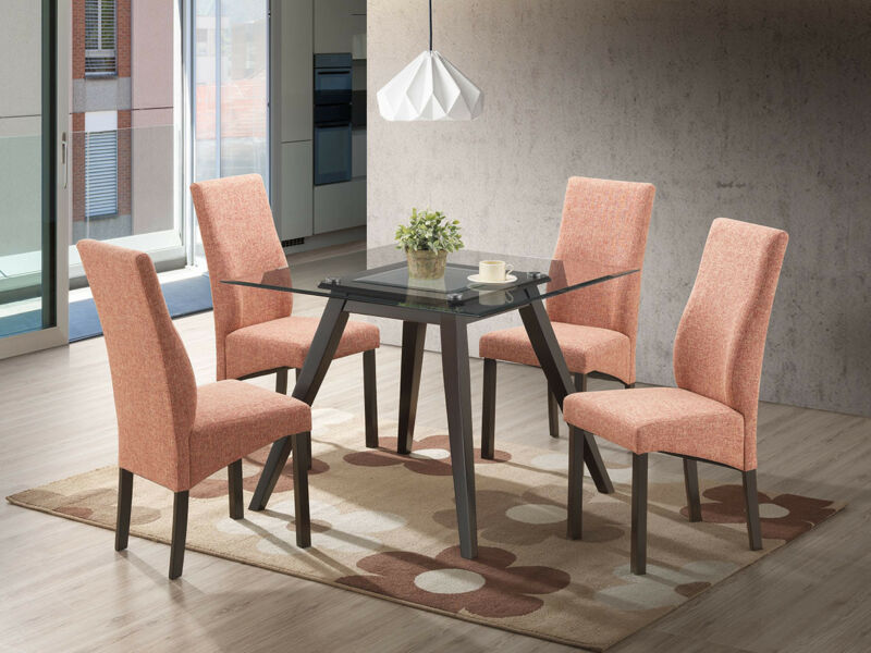 5 Piece Square Dining Set. Table & 4 Chairs, Red