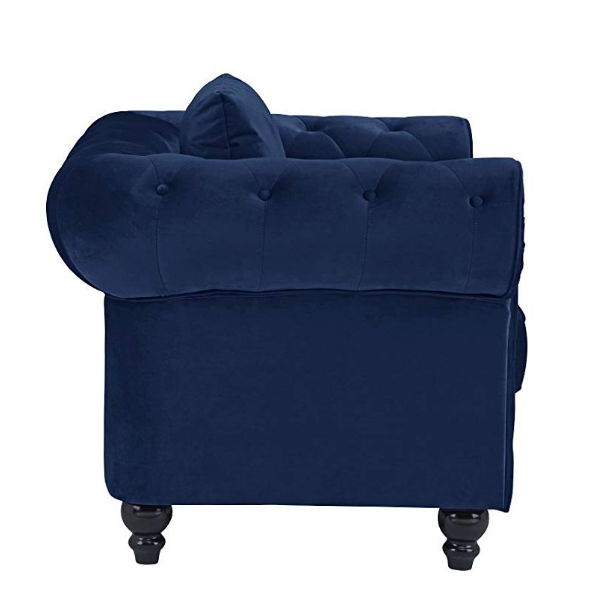 Velvet Chesterfield Chair Blue Accent Tufted Traditional