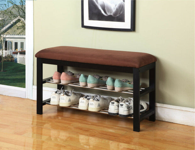 Black/Chocolate Micro Fabric Shoe Rack Organizer & Hallway Bench