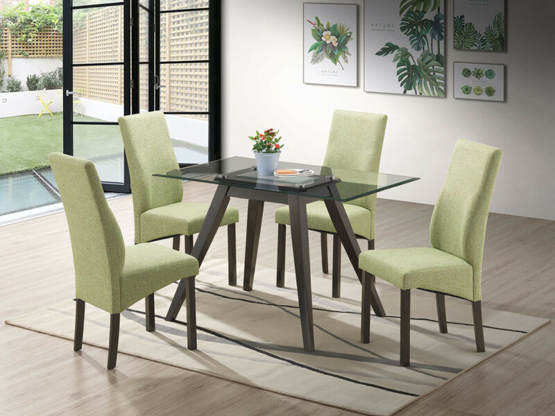 5 Piece Rectangular Dining Set. Table & 4 Chairs, Green