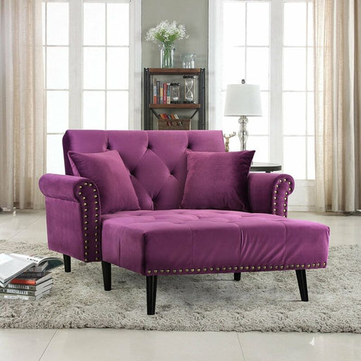 Victorian Style Chaise Lounge Tufted Velvet with Nail heads Recliner (Purple)