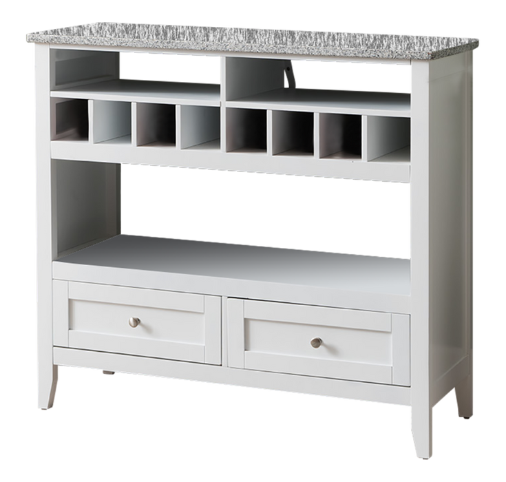 White/Marble Finish Buffet Display Console Table With Wine Storage