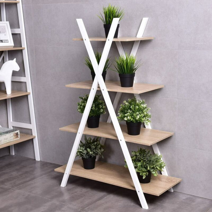 X-Shape 4-Tier Ladder Bookcase Display Storage Shelves Rack