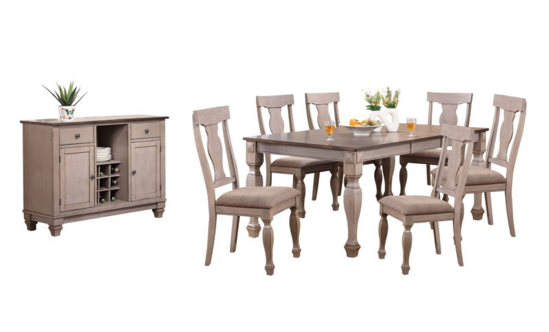 2-Tone Brown 8-Piece Dining Room Set, Table, 6 Chairs & Server