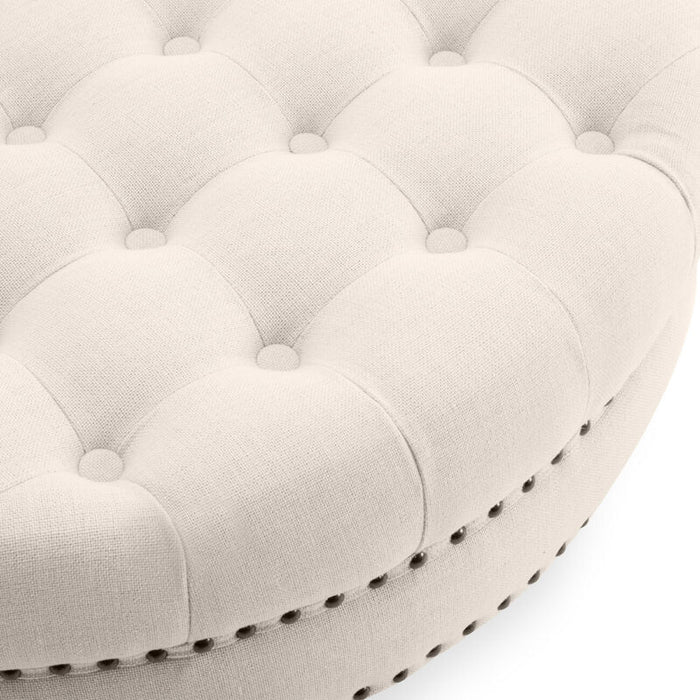 (Beige) Round Ottoman Footstool Tufted Bedroom Living Room w/ Caster